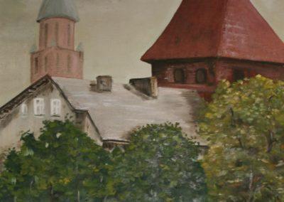 Obraz autorstwa Jana Wałaszewskiego przedstawiający widok na Basztę Gdańską oraz wieżę kościoła pw. św. Katarzyny