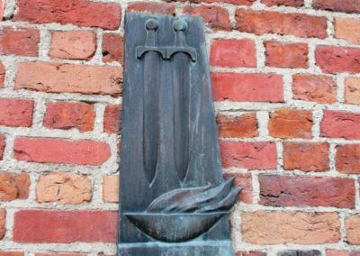 Tablica pamiątkowa wmurowana w ścianę Baszty Gdańskiej (Szewskiej)